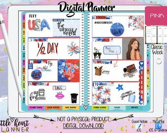 Digital Planner for Goodnotes   Pink Classic week   iPhone iPad Tablet Planning with working tabs