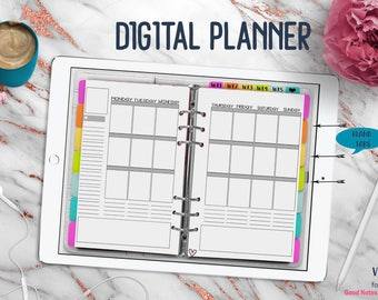 White Vertical Digital Planner | Digital Planner for Goodnotes with Working Tabs