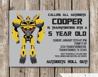 Bumblebee Transformers Birthday Invitation - Transformers Birthday Party - Bumblebee Birthday Invite - Bumblebee Transformers Invitation