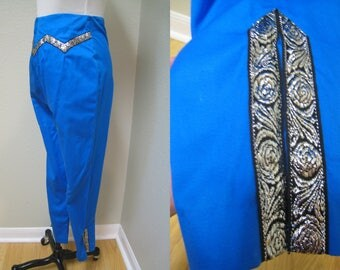 "Deep Turquoise Patio Pants, Capris, Cigarette Pants, Embellished to Coordinate with Patio or Squaw Blouse Top Skirt Dress 24"" Waist Size S"