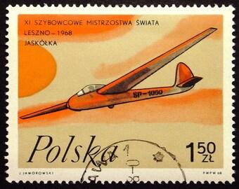 Glider Aircraft, Jaskolka -Handmade Framed Postage Stamp Art 22492AM