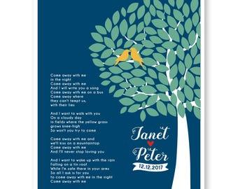 Wedding Song Art, Wedding Song Lyrics, Wedding Song Gift, Anniversary Gift, Wedding Lyrics, Wedding Gift, Song Lyric Art, First Dance Song