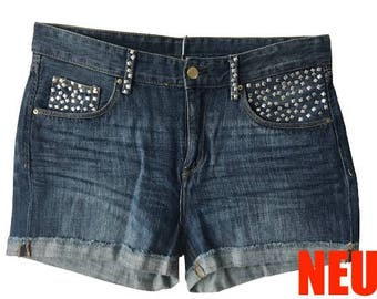 Coole Jeans-Shorts Y1 - pimped by Angela - Unikat, one of a kind, shorts, Hose, Damen, woman, hot-fix stones, hot-fix Steine, silber, silver