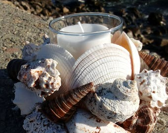 Shell Wreath With Candle - Beach Decor - Beach Centerpiece (CW042)