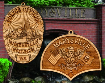 Personalized Wooden Marysville  PD Badge or Shoulder Patch Ornament