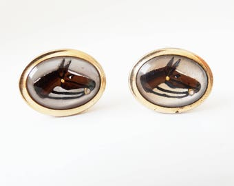 1940s Anson Reverse Carved Intaglio Equestrian Horse Racing Mens Cufflinks