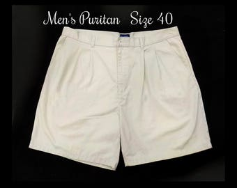 men's pleated front shorts, tan shorts, men's 90's shorts, men's dress shorts, size 40 shorts,   # 58