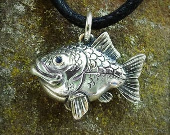 Happy fish necklace , silver and sapphire fishing pendant.