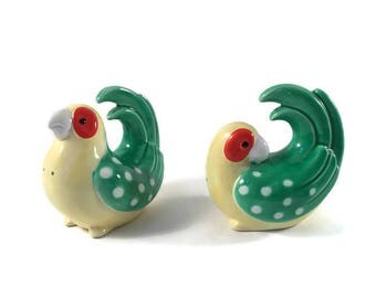Vintage Fitz and Floyd Parakeet Salt and Pepper Shakers, Green and Yellow Bird Shakers, Bird Salt and Pepper Shakers FF Fritz and Floyd