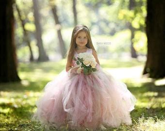 Flower girl dress - Tulle flower girl dress - blush Dress - Tulle dress-Infant/Toddler - Pageant dress - Princess dress - blush flower dress