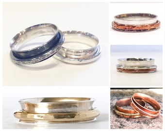 Spinner Ring Fidget Ring Spinning Ring Worry Ring Anxiety Ring Meditation Ring Copper Brass Copper Sterling Silver Spinner Ring