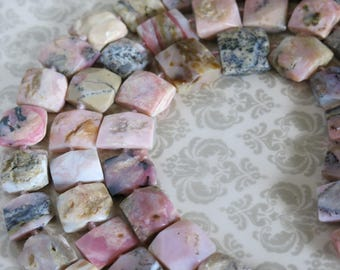 Pink Opal, Large, Faceted, Pink Peruvian Opal Beads, Full and Half Strands, Varying Sizes and Shapes, Unisex