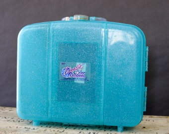 Caboodles Color Collision Blue GlitterTravel Case, Large Makeup Case, 90s Caboodles Makeup Organizer, Cosmetic Organizer Case, Gift for her