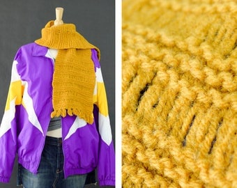 Vintage 1960s Scarf, Handmade Crochet Scarf, Winter Scarf,  Acrylic Scarf, Funky Yellow Scarf, Mustard Scarf, Gift for her, Ready to ship