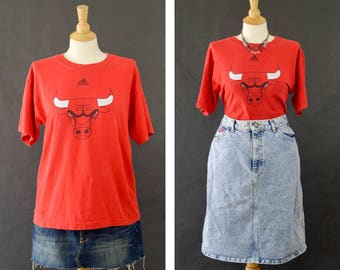 Vintage Chicago Bulls T Shirt, Vintage Red Adidas Shirt, Distressed Graphic T Shirt, Unisex NBA Short Sleeve Shirt, 90s Oversized Tshirt