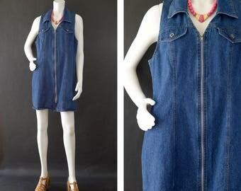 Vintage Denim Dress, Blue Jean Sleeveless Dress, Zip Up Midi Dress, Denim Shirt Dress, Plus Size Denim Dress, Route 66 Denim Women's Size 12