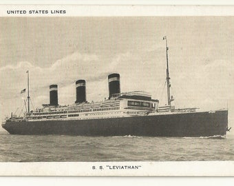 1920s B/W Photo Postcard- Transportation- Ocean Liner, Cruise Ship, S.S. Leviathan, United States Lines ~ Free Shipping