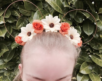 The Fairytale Collection: Pocahontas Inspired Apricot & Cream Daisy Rose Disney Floral Wire Mickey Mouse Ear Headband Handcrafted