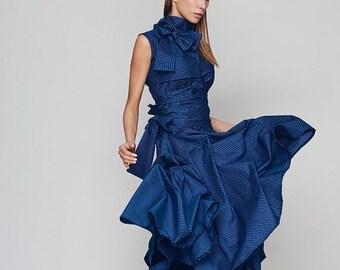 Dresses On Sale Now New Spring Dress, Loose Dress, Blue Dress, Turtleneck Dress, Plus Size Boho Dress, Holiday Dress, Sun Dress, Ribbon Dres