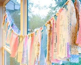 Baby Gender Reveal Garland - 6 FOOT Fabric Garland - Burlap Lace Pink and Blue