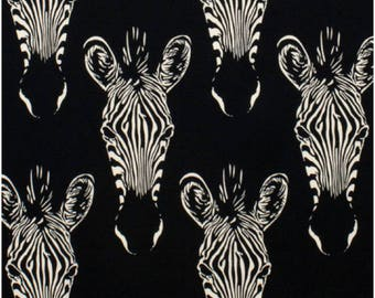 End of Bolt - 16 inches Zahara Zebra Fabric in Black and White Alexander Henry 100% Cotton