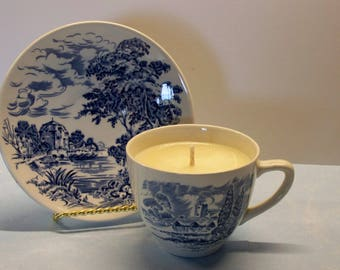 2 in 1 Gift Pumpkin Caramel Latte Countryside Enoch Wedgwood (Tuns Tall) LTD Founded in 1835 Vintage Teacup and Saucer Soy Candle