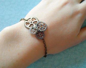 Bronze Steampunk gears bracelet