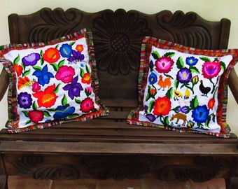 C-003 2 Guatemalan Huipil Pillow Covers  from Chichicastenango