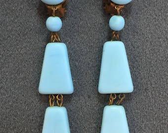 Turquoise Blue Glass Deco Flapper Clip Earrings. Free shipping