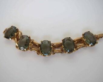 Chunky Large Black Diamond Oval Rhinestone Bracelet in Textured Gold Setting