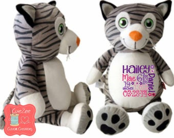 Personalized Cat Stuffed Animal, Personalized Baby Gift , Birth Announcement Gift, Baby Shower Gift, Cubbie, Custom, Stuffy