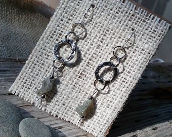 Labradorite Raw Stone Nugget Dangle Earrings, Silver Elements, Silver plated wires.  Pierced Ears.