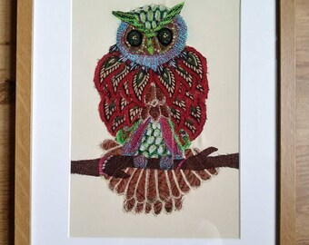 """Textile Owl Picture, Framed Owl Textile Wall Art, """"Wise Old Owl"""", Original Textile Embroidery Picture 30 x 40 cm Home Decor"""