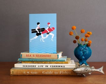 Arthur and Olive | Greeting Card | Vintage Surf by Alison Bick - note card - blank card - surfing - belly board surf girl cornwall