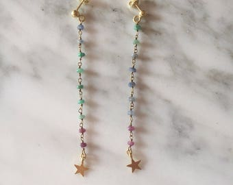 Topaz Rosary multicolor earrings and starlets.