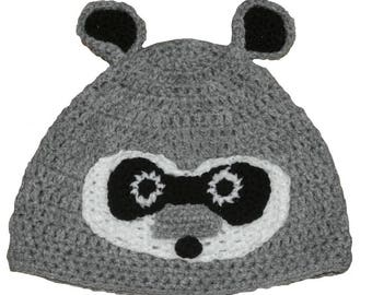 Hand Crocheted Raccoon Hat HH036