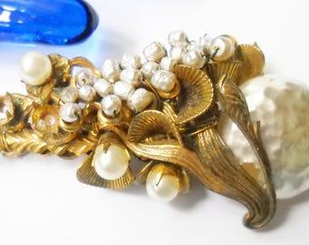 Vintage Miriam Haskell Seed Pearl Baroque Pearl Brooch Hollywood Regency Mid Century