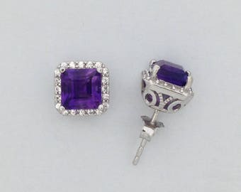 Natural Amethyst with White Topaz Cluster Earrings 925 Sterling Silver