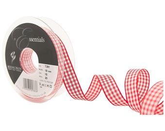 3 M 10 mm 15 red gingham Ribbon