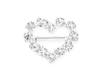 Mini Heart Rhinestone 12 mm with horizontal bar