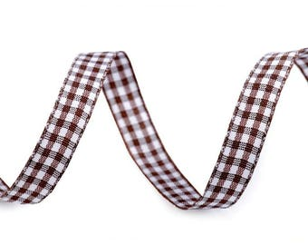 3 M 10 mm Brown gingham Ribbon