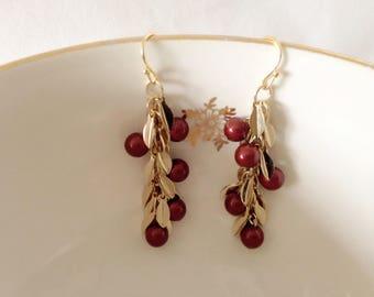 Cluster earrings Burgundy swarovski pearls with gold leaves