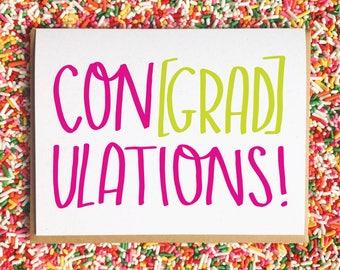 Grad Card. Funny Graduation Card. Con[grad]ulations! Funny Card. High School Grad Card. Funny Grad Card. Pun Card. College Graduation Card