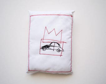 Car decor crown Basquiat art birthday gift unisex graduation art gift creative pillow sculpture graffiti art gift textile wall art unique