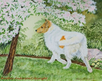 """8x10 giclee print, Rough Collie, """"Pup on a Mission"""", Hand Drawn Collie Art, Sable Headed White Collie, Dog Art, DOG LOVER GIFT"""