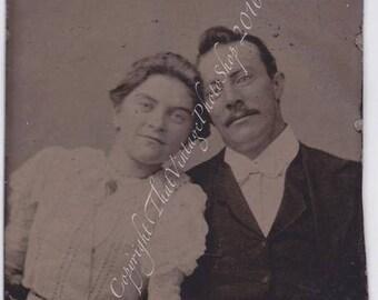 Antique Tintype Photo Smiling Victorian couple