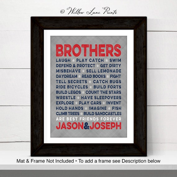 brothers wall art - navy, red and gray twin boys nursery or playroom ...