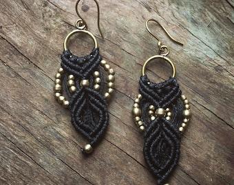 Black Macrame Earrings,Macrame Bohemian Earrings , Tribal macrame earring ,hippie earrings, boho chic earrings, fan earrings, gift women
