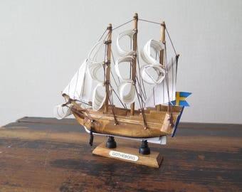 Vintage Wooden Model Ship Gotheborg Historic Decorative Boat Model Old Sailing ship Handcrafted model Library Shelf Decor @222