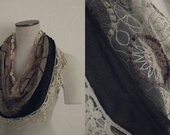 Crochet and Lace Scarf (ON HOLD). Crochet Scarf. Embroidered Scarf. Lace Scarf. Vintage Scarf. Vintage Embroidery. Vintage Lace.